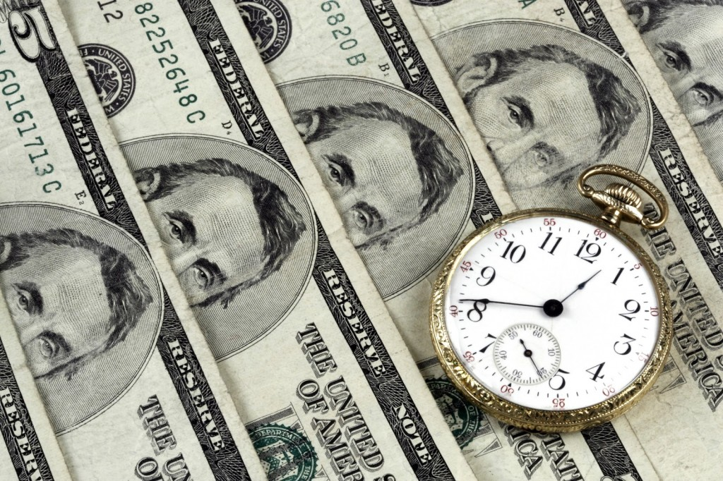American Money with Pocket Clock