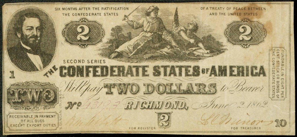 Confederate Two Dollar Note