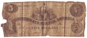 Confederate 5 Dollar Bill