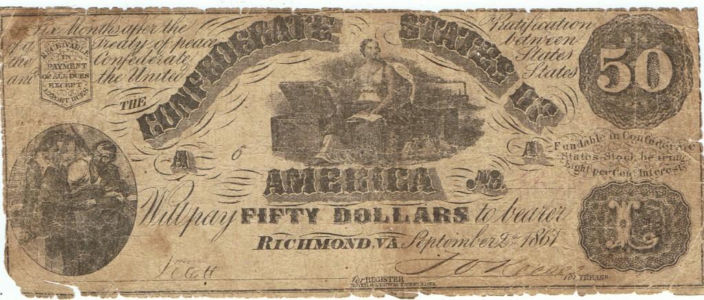 Confederate 50 Dollar Note