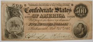 Confederate 500 Dollar Bill