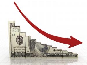 Declining Money Chart and Arrow