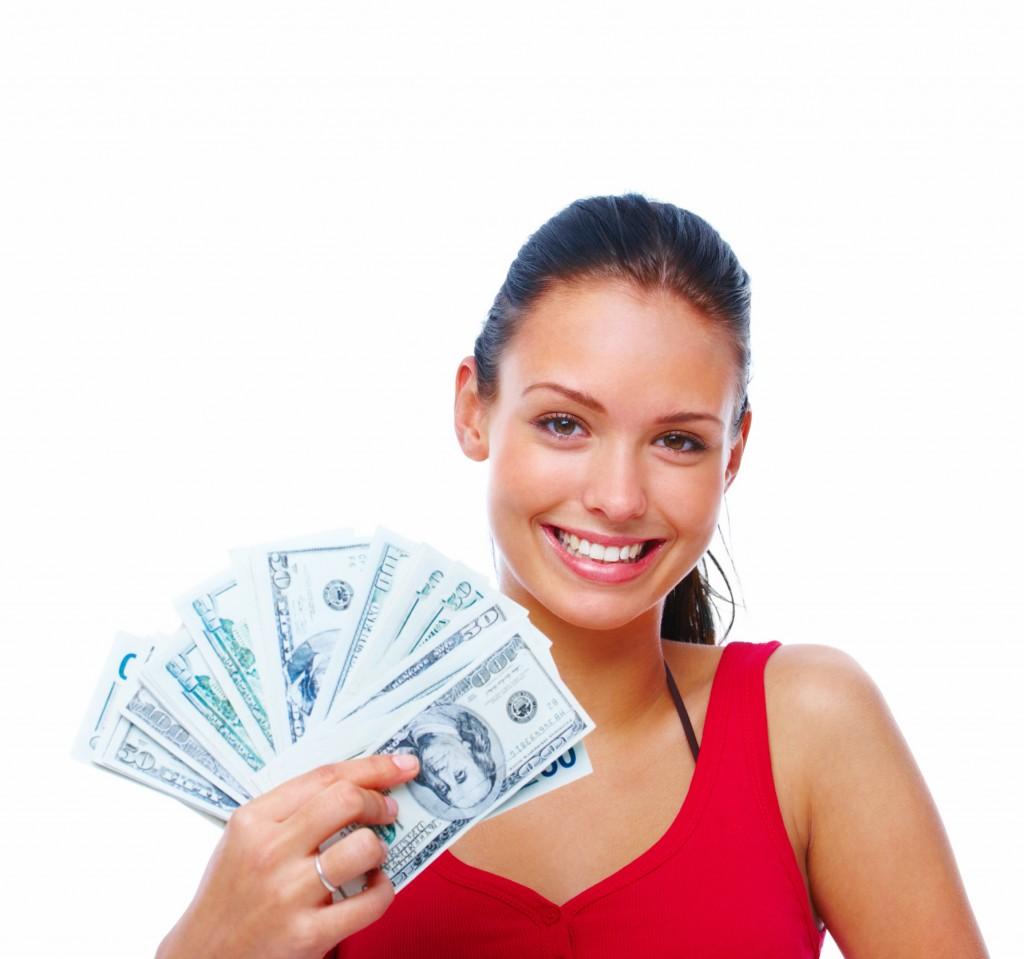 Girl Holding Cash Fan