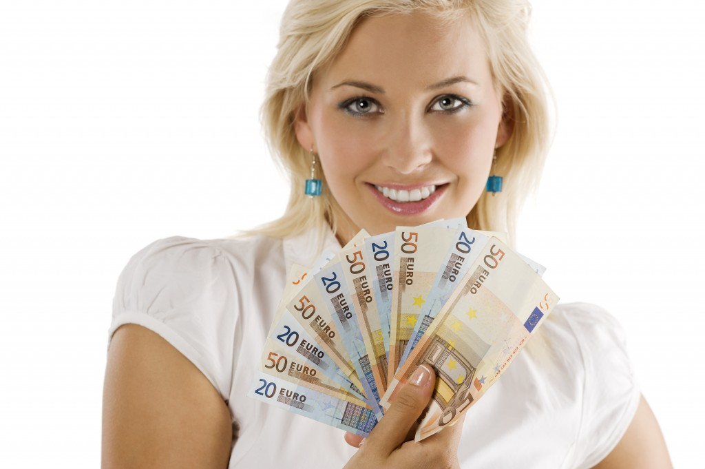 Girl Holding Euro Money