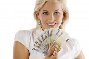 Girl Holding Euro Money