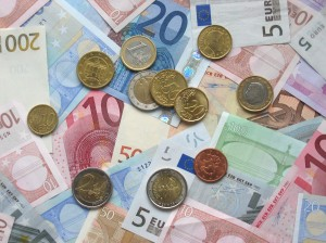 Various Euro Notes and Coins